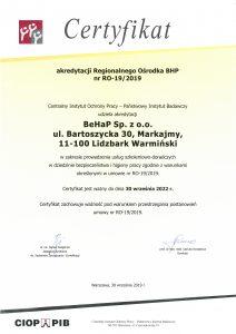 Certyfikat akredytacji Regionalnego Ośrodka BHP