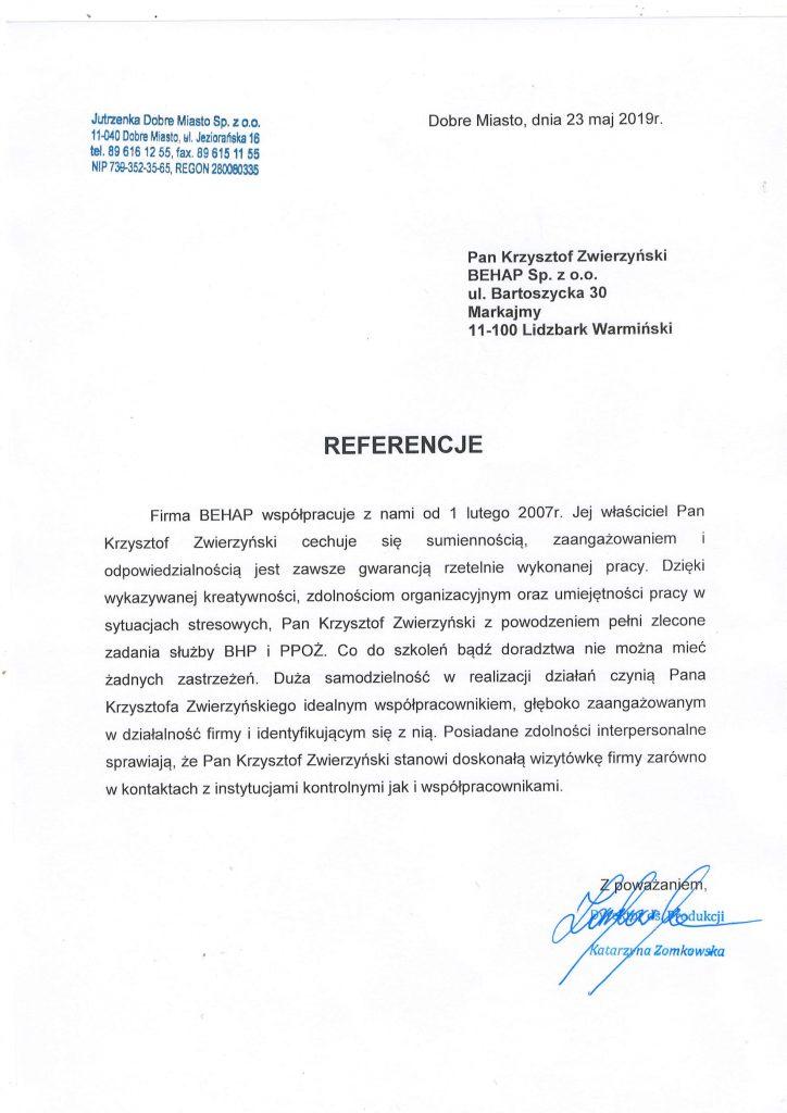 Referencje od firmy Instalarstwo Elektryczne ELEKTRA Paweł Staszkiewicz