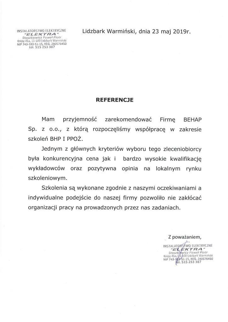 Referencje od firmy Ocynkownia WEKTOR Sp.J.