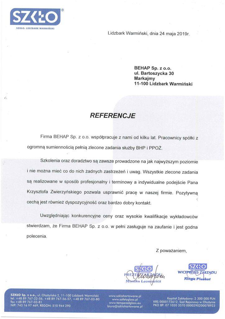 Referencje od firmy SZKŁO Sp. z o.o.