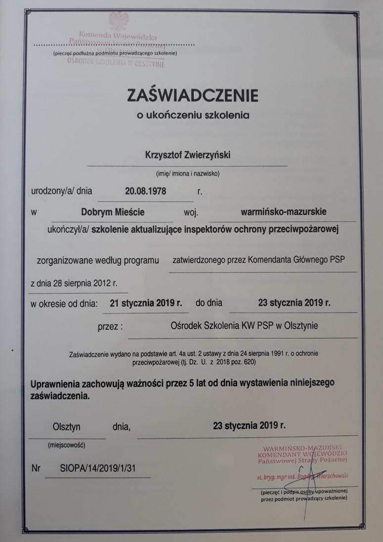 Uprawnienia PPOŻ.