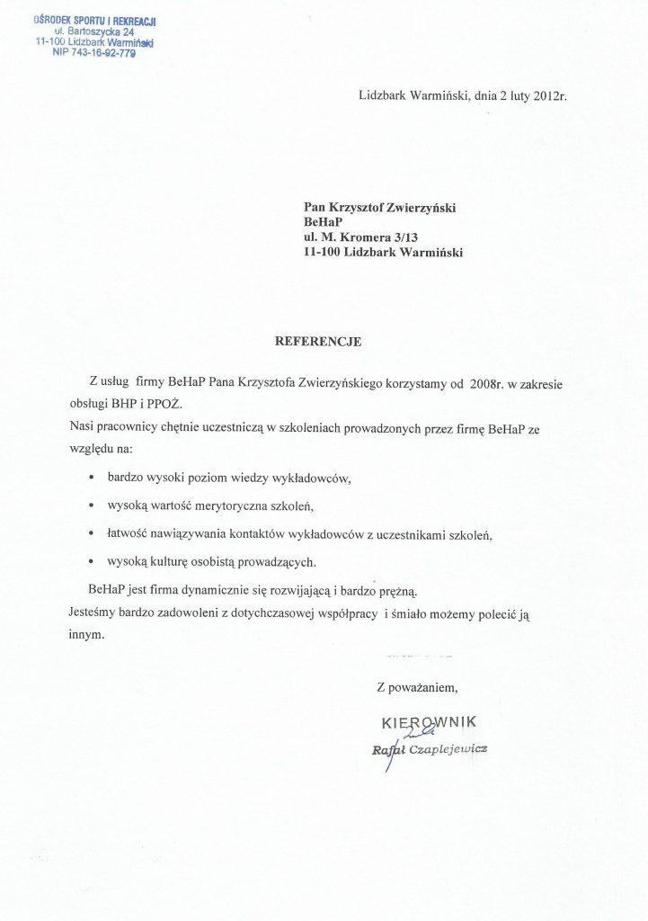 Referencje od Ośrodka Sportu i Rekreacji w Lidzbarku Warmińskim