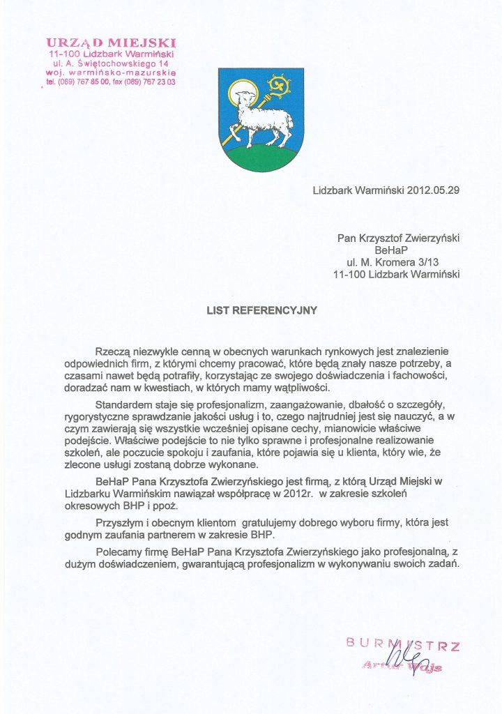 Referencje od Urzędu Miasta w Lidzbarku Warmińskim