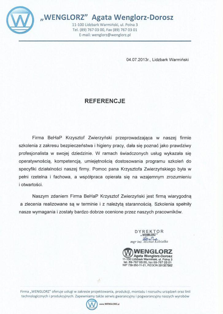 Referencje od firmy Wenglorz Sp. z o.o.